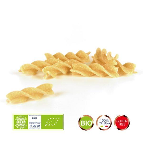 Pasta di farina di Mais integrale. Biologica. Pasta Senza glutine. Fusilli bio trafilati in bronzo, essiccati a bassa temperatura. Pasta Macrobiotica Alma Food.